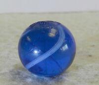 #12936m Vintage German Handmade Darker Blue Glass Marble .64 Inches
