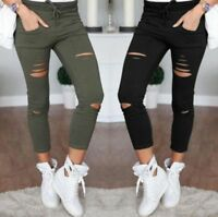 Skinny Women's Denim Pants Destroyed Knee Pencil Jeans With Holes Casual Outwear