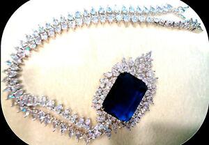 18k white gold brilliant Huge blue Sapphire diamond bridal Necklace Earring set