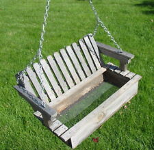 Vtg Antique Weathered Wood Wooden Picnic Bench Swing Bird Feeder Mini Primitive