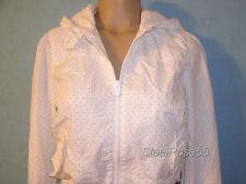 NEW Aeropostale Junior Girls White Tan Zippered Polka-Dot Cotton Jacket S Small