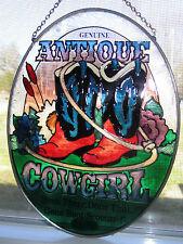 "Genuine Antique Cowgirl Joan Baker Design Hand Painted Glass 7"" Oval Suncatcher"