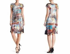 NWT Komarov V-Neck Cap Sleeve Crinkle Dress [SZ Large] #B592