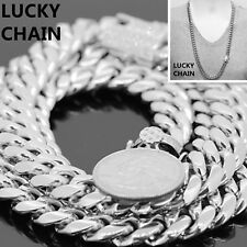 "30""STAINLESS STEEL HEAVY MIAMI CUBAN LINK SILVER CHAIN NECKLACE 12mm 216g"