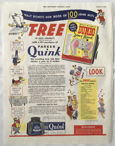 1941 magazine ad for Walt Disney's Dumbo Song Book - Parker Quink ink giveaway