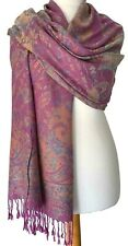Pink Pashmina Wrap Ladies Floral Shawl Oversized Scarf Blue Flowers
