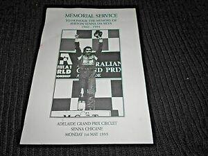 MEMORIAL SERVICE CARD TO AYRTON SENNA DA SILVA ADELAIDE GRAND PRIX CIRCUIT