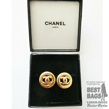 ORIG. CHANEL OHRRINGE OHRCLIPS GOLD PLATED mit BOX /  SELTEN / GUT