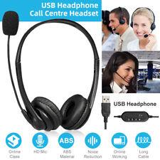 Call Center Headset mit Mikrofon USB PC Telefon Kopfhörer Computer Skype Chat DE