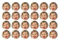 24 Custom Any Photo Mini Edible Wafer Cupcake Cup Cake Decoration Toppers Images