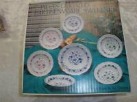 RETRO 7 PCE.DECALED EARTHENWARE SWEETS SET BLUE & WHITE