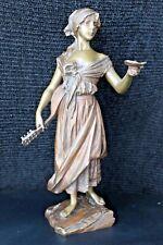 Original Villanis Bronze, JEUNE FEMME A LA MANDOLIN, Begger Girl,  France c1890