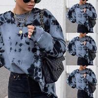 Loose Women's Hoodie Turtleneck Tie-dye Tops Casual Long Sleeve T-Shirt Blouse