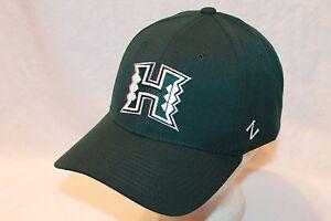 "Hawaii Warriors Hat Cap ""The Green ZH Flexfit ""Small H"" Cap by Zephyr NCAA Hats"