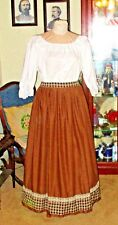 CIVIL WAR DRESS~VICTORIAN STYLE-COTTON CHOCOLATE BROWN CAMP/WORK SKIRT~CUSTOM