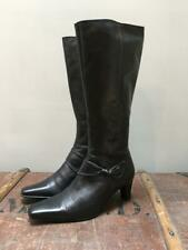 GABOR UK 7.5 Black Leather Zip-Up Heeled Boots w/ Chisel Square Toe