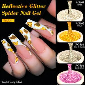 BORN PRETTY 4Boxes/Set Reflective Glitter Spider Nail Art Gel Sparkling Effect