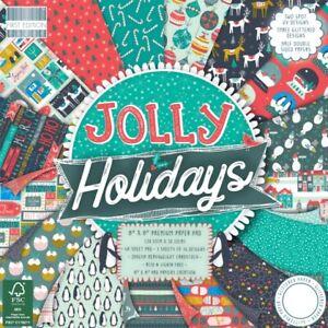 "8"" x 8"" 48 Sheet Full Pad JOLLY HOLIDAYS Christmas Card Making Scrapbook Paper"