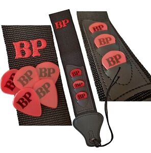 Custom name guitar strap with pick holder & personalised plectrums
