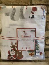 Pottery Barn Kids Merry Santa Queen Sheet Set Christmas Organic Flannel COTTON