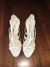 Touch Of Nina Cage Sandal Bright White Size 9.5 MARJY Strappy Zipper Back NIB