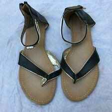 Le Miu Women's Shoes Size 10 Sandals Open Toe Black and Gold Rhinestone Strap