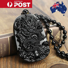 Black Natural Obsidian Hand Carved Dragon Lucky Blessing Pendant Necklace Chain