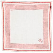 Corneliani Men's 100% Linen Pocket Square White & Red Handkerchief Gift for Him