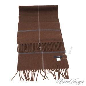 #1 MENSWEAR J. Crew USA Made 100% Cashmere Chocolate Flannel Cross Stripe Scarf
