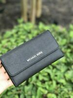 NWT Michael Kors Jet Set Travel Large Trifold Leather Wallet Black Silver
