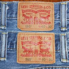 40x30 LOT OF TWO (2): Levi Strauss 550 Relaxed Fit Blue Jeans 100% Cotton Denim