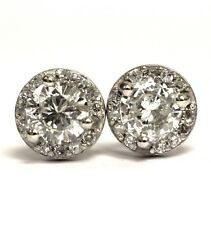 14k white gold .54ct halo round diamond stud cluster earrings vintage estate