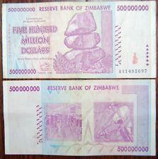 GUARANTEED 2008 AA SERIES WITH COA ZIMBABWE 500 MILLION DOLLARS10 BANKNOTES