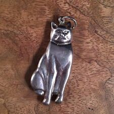 "Art Deco 1930's sterling silver cat pendant 2 3/8"" 3D Cat 925 Chubby Cat"