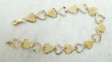 14K Yellow Gold Diamond Cut Textured Open Heart Link Chain Bracelet 5.5g D3337