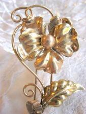 ELEGANT A REGEL AREGEL RETRO 1940'S GOLD FILLED PANSY FLOWER PIN BROOCH