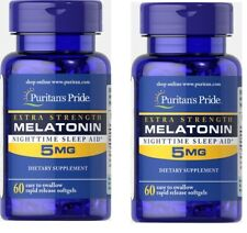 2pcs MELATONIN Puritan's Pride 5mg 60 Tab Cap Sleeping Pills Dietary Supplement