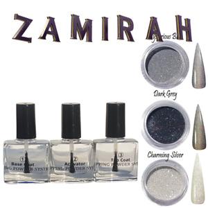 Zamirah Nail Dipping Powder Acrylic Polish Liquid BaseTop Coat Activator Glitter