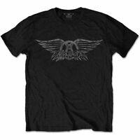 Official Aerosmith T Shirt Vintage Logo Black Mens Classic Rock Metal Tee Unisex
