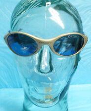 USED OAKLEY SILVER/BLUE FRAME BLUE SEMI MIRROR LENS SPORT ACTIVE SUNGLASSES S86
