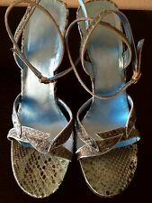 EMANUEL UNGARO Italy Blue Turquoise PYTHON Sandals Heels 7.5 $968