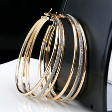Silver Gold Plated Women Crystal Rhinestone Three Circles Hoop Dangle Earrings