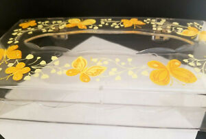 Lovely Yellow Butterfly + Flower Tissue Box Cover with Hinge Unused