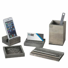 5 Piece Desk Set With Pen Tray Pencil Cupmemo Pad Amp Card Holders Amp Phone Stand