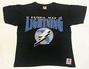 Vintage Nutmeg 1991 NHL Tampa Bay Lightning T-Shirt Black L Tee USA