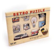 Rétro Technologie Bois Peg Puzzle Platine Tourne-disque,bobine pour moulinet,
