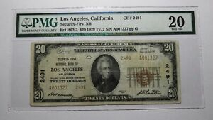 $20 1929 Los Angeles California CA National Currency Bank Note Bill #2491 VF20