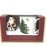 Spode Christmas Tree Holiday Mug and Ceramic Santa Claus Ornament Set NEW