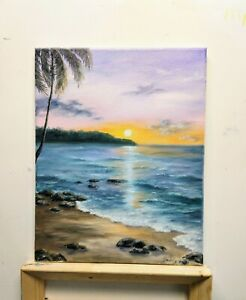 """Art14""""/11"""" Hawaii Anina beach, Kauai oil hand painting, seascape,sunset beach,"""