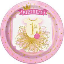 8 x 1st Compleanno Rosa e Oro Piatti Di Carta Festa Ragazze Età 1 Festa Stoviglie